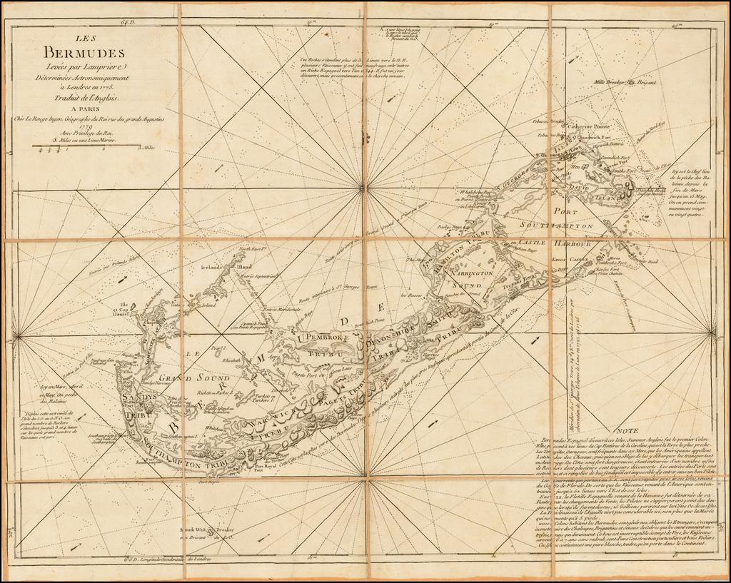 Les Bermudes Levees par Lampriere Determinees Astronomiquement a Londres en 1775.  Traduit de l'Anglois . . . 1779 By Georges Louis Le Rouge