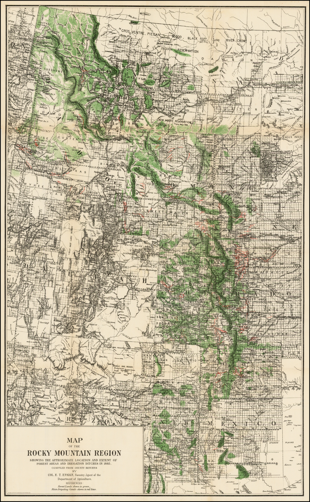 Map of the Rocky Mountain Region Showing The Approximate Location ...