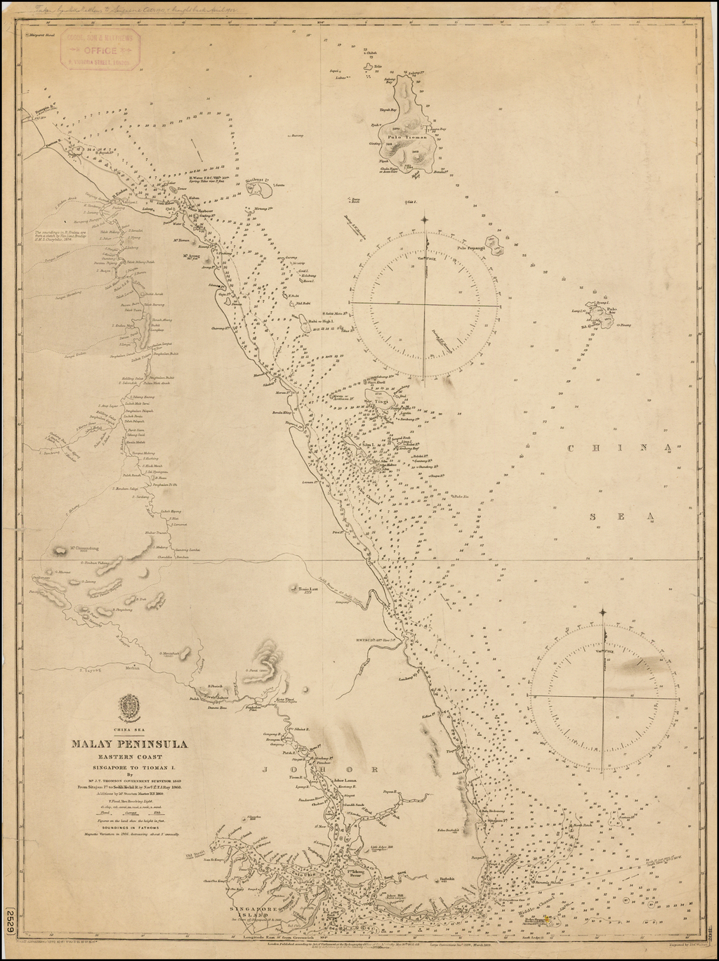 Malay Peninsula Eastern Coast.  Singapore to Tioman I.  By Mr. J. T. Thomson, Government Surveyor, 1849 . . . Additions by Mr Stanton, Master RN, 1860 By British Admiralty