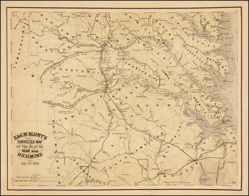 E & G.W. Blunt's Corrected Map of the Seat of War near Richmond July 10th 1862. By E & GW Blunt