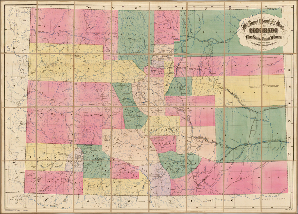 Williams Tourists' Map of Colorado and The San Juan Mines By Henry T. Williams