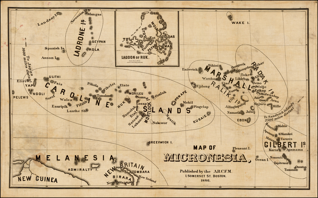 Map of Micronesia, Published by the A.B.C.F.M. . . . 1886 By American Board of Commissioners for Foreign Missio
