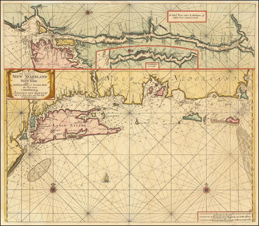 Pas-Kaart vande Zee Kusten van Niew Nederland anders Genaamt Niew York tusschen Renselaars Hoek en de Staaten Hoek . . .  By Johannes Van Keulen