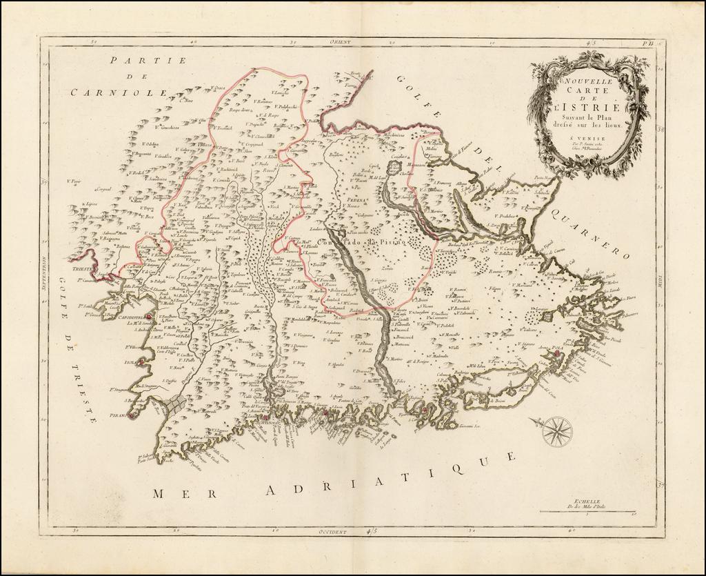 Nouvelle Carte de L'Istrie Suivant le Plan dresse sur les lieux . .  .1780 By Paolo Santini