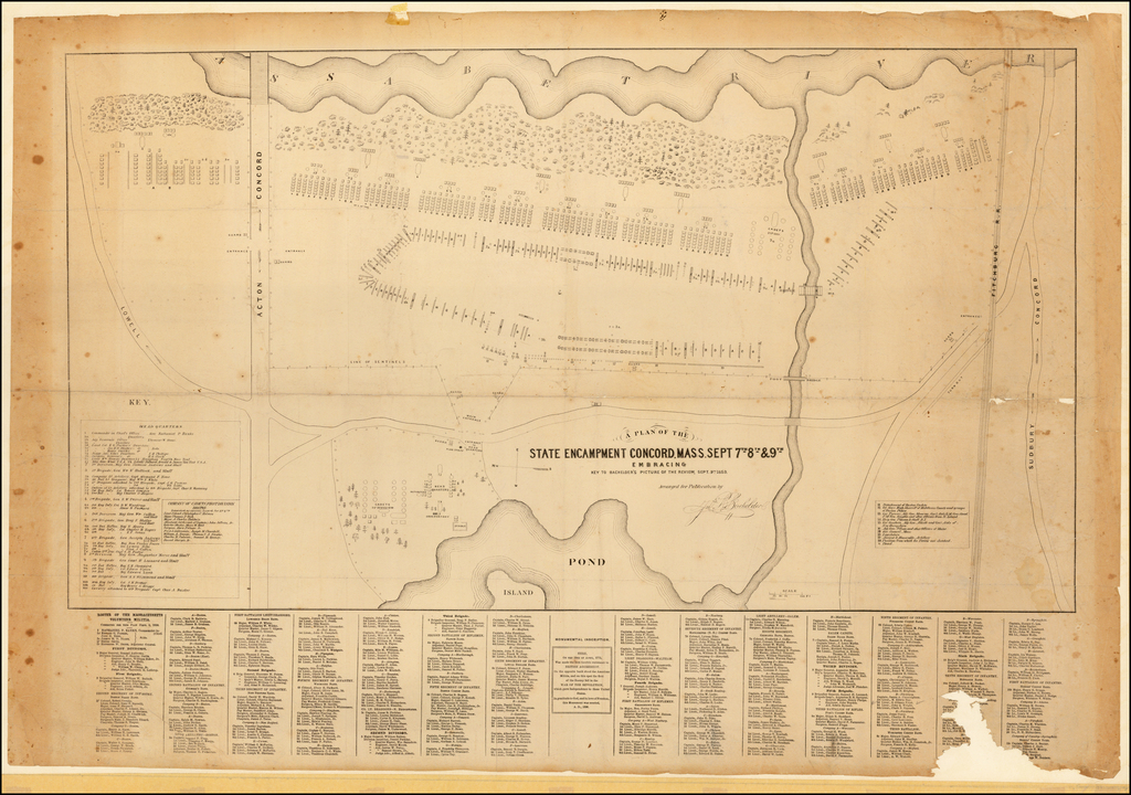 A Plan of the State Encampment Concord. Mass. Sept 7th 8th & 9th Embracing Key to Bachelder's Picture of the Review, Sept. 9th. 1859. By John B. Bachelder
