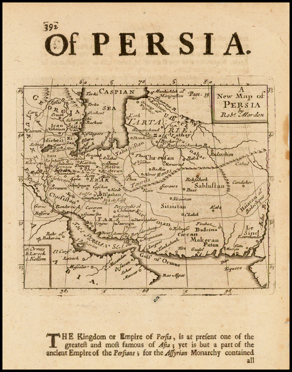 A New Map of Persia By Robert Morden