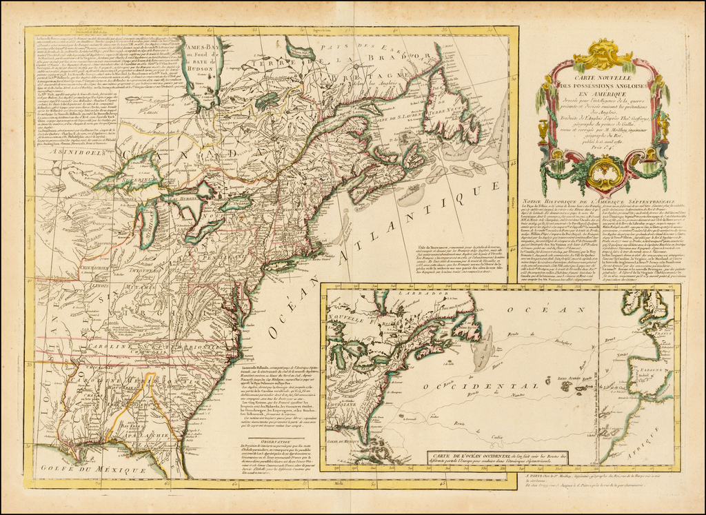 Carte Nouvelle Des Possessions Angloises En Amerique dressee pour l'intelligence de la guerre . . .  1780 By Maurille Antoine Moithey