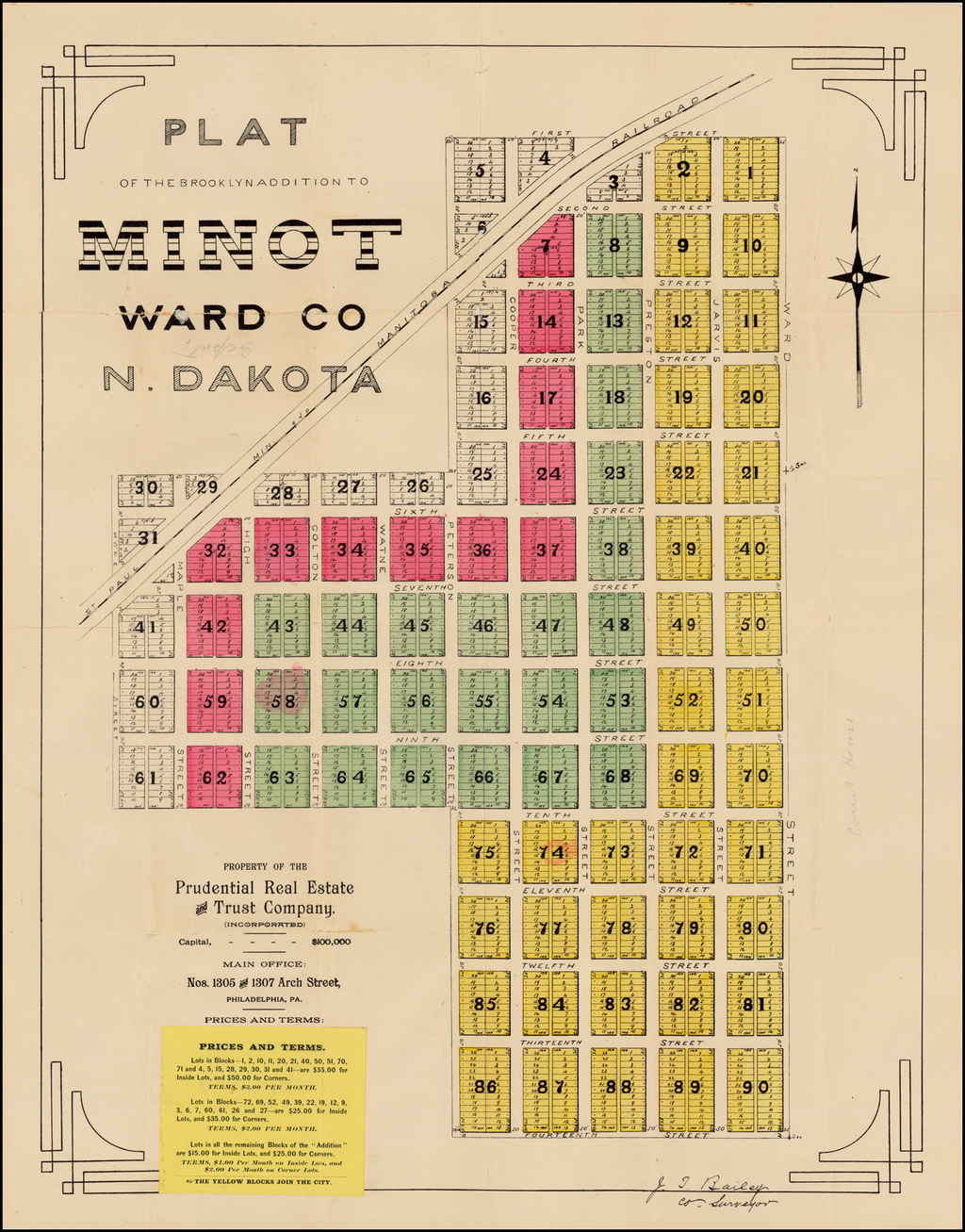 Plat of the Brooklyn Addition To Minot  Ward Co N. Dakota By Anonymous