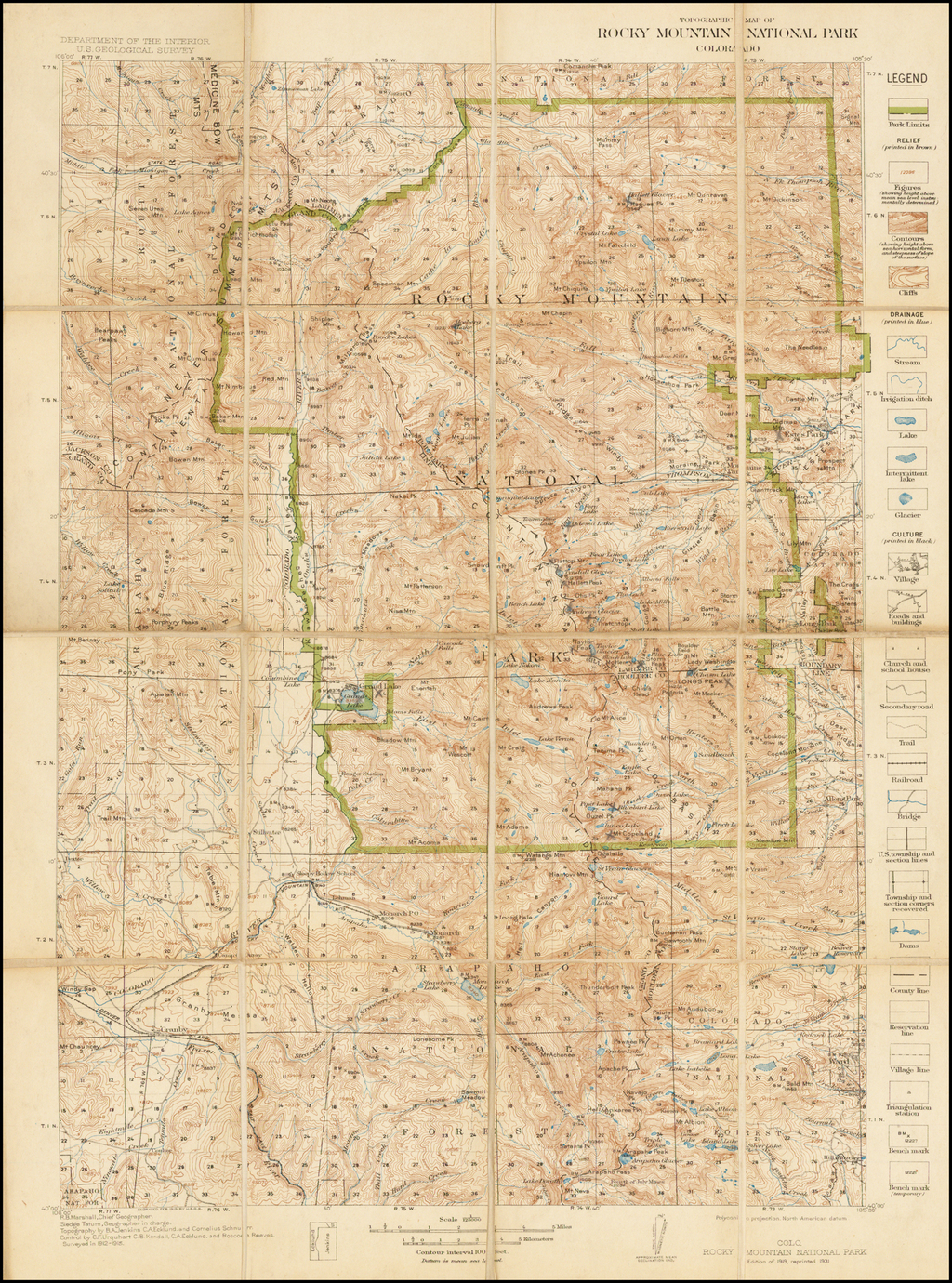 Topographic Map of Rocky Mountain National Park Colorado ...