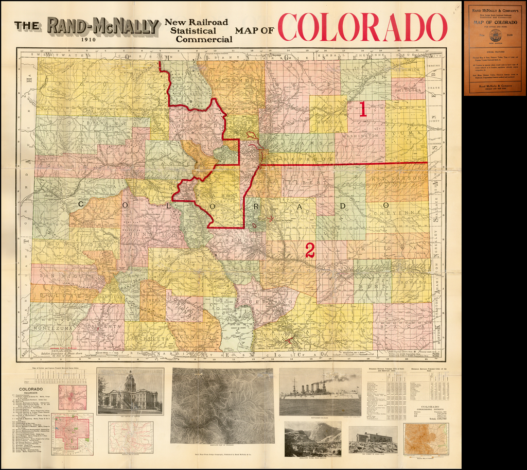 The Rand-McNally New Railroad Statistical Commercial Map of Colorado 1910  (Folding Map) By Rand McNally & Company