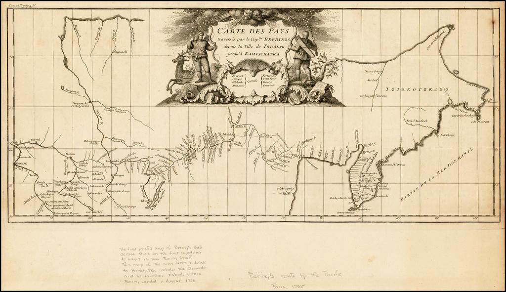 Carte Des Pays traverses par le Capne. Beerings depuis la Ville de Tobolsk jusqua'a Kamtschatka . . . By Jean-Baptiste Bourguignon d'Anville