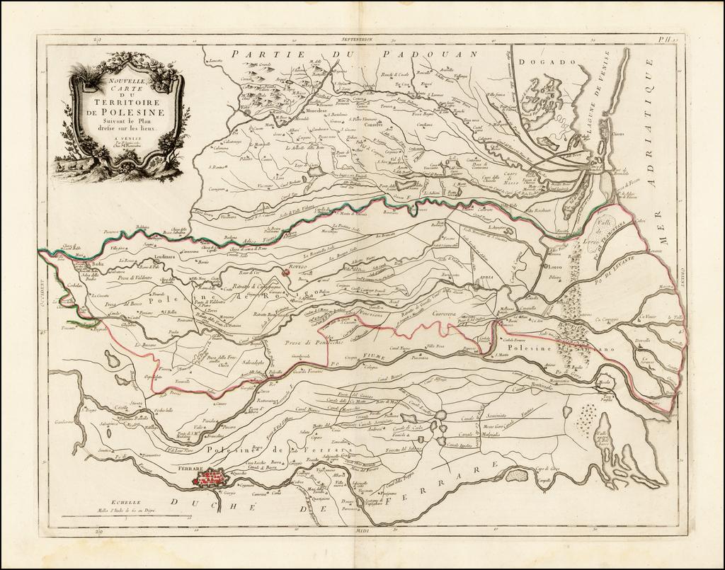 Nouvelle Carte Du Territoire de Polesine Suivant le Pan dresse sur les lieux . . .1781 By Paolo Santini