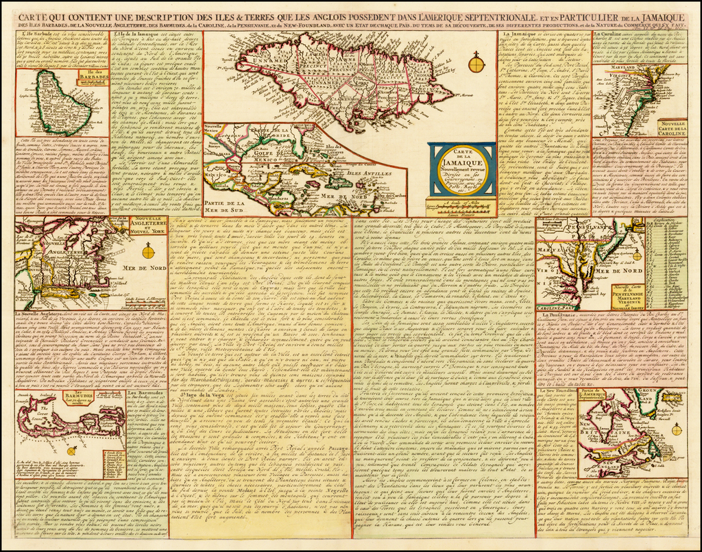 [British Colonies in North America &c]  Carte Qui Contient Une Description Des Iles & Terres Que Les Anglois . . .[maps of Chesapeake, Carolinas, New England, Bermuda, Gulf Coast, Jamaica, Barbadoes & Canada] By Henri Chatelain