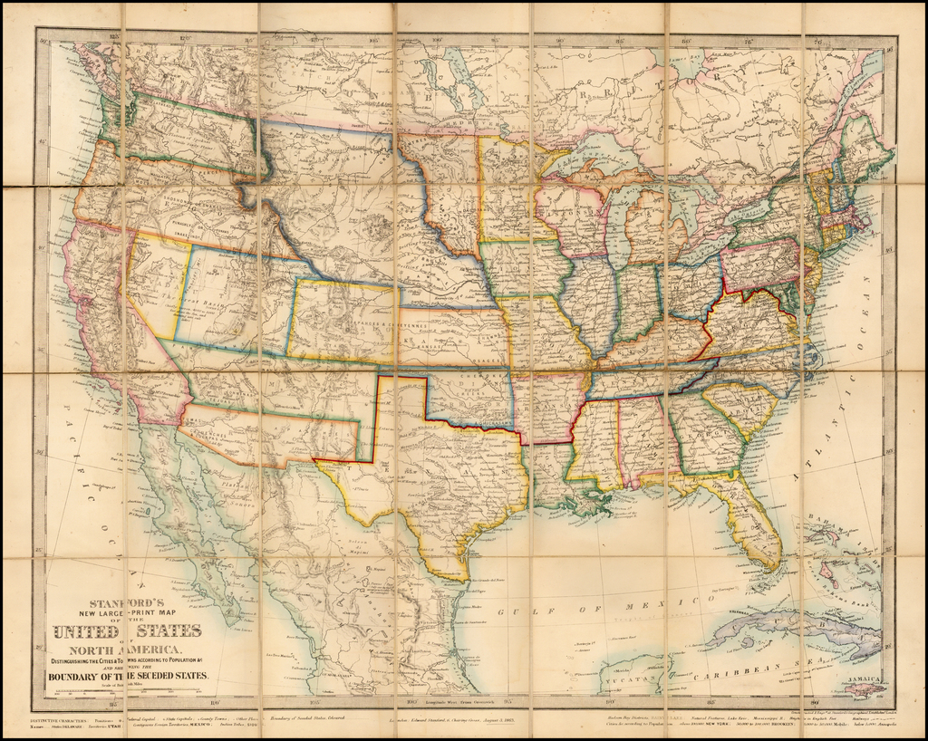 Stanford's New Large-Print Map of the United States of North ... on large print map of kentucky, large print map of utah, large print map of oregon, large print map of south america, large print map of san francisco, large print map of arkansas, large print map of ecuador, large print map of iowa, large print map of philippines, large print map of indiana, large print map of wisconsin, large print map of north carolina, large print map of russia, large print map of central america, large print map of bulgaria, large print map of paris, large print map of nevada, large print map of australia, large print map of south dakota, large print map of wyoming,