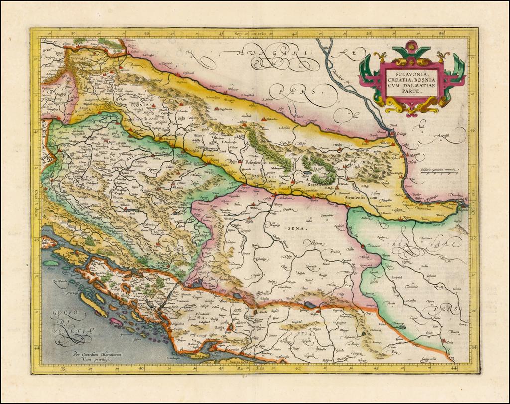 Sclavonia, Croatia, Bosnia, cum Dalmatiae cum Dalmatiae Parte By  Gerard Mercator