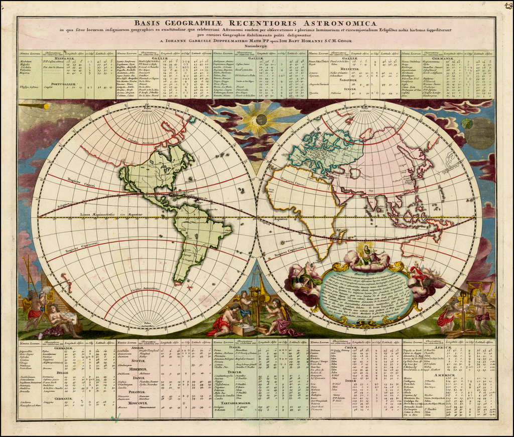 Basis Geographie Recentioris Astronomica . . . A Johanne Gabriele Doppelmaiero . . .  By Johann Gabriele Doppelmayr