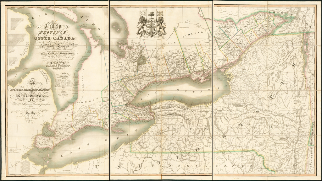 A Map of the Province of Upper Canada and the Adjacent Territories in North America ... Shewing the Districts, Counties and Townships in which are situated the Lands purchased from the Crown by The Canada Company. By James G. Chewett  &  Thomas Ridout