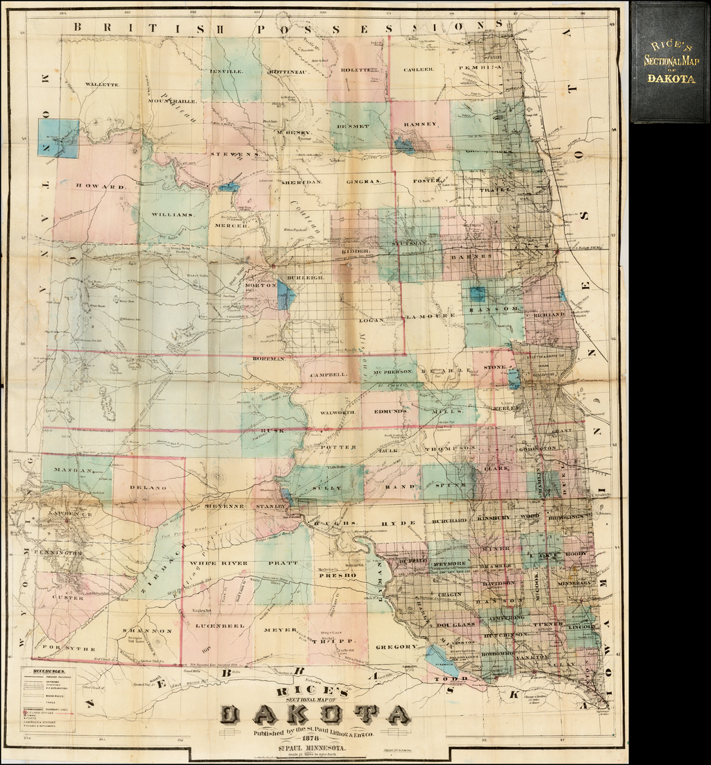 Rice's Sectional Map of Dakota . . . 1878 By G. Jay Rice