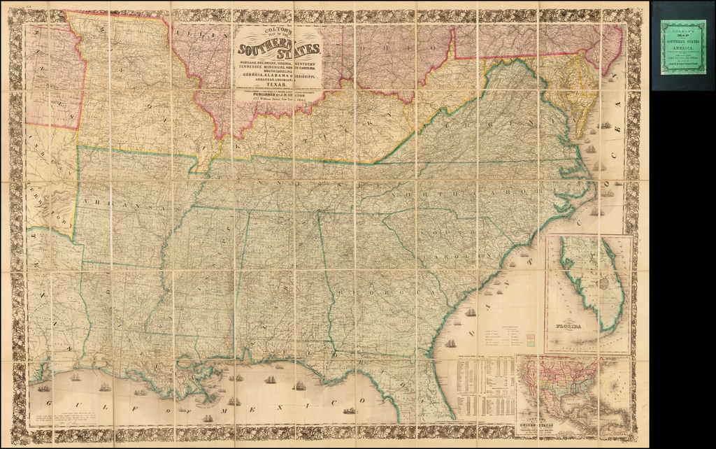Colton's Map of the Southern States.  Including Maryland, Delaware, Virginia, Kentucky Tennessee, Missouri, North Carolina, South Carolina, Georgia, Alabama, Mississippi, Arkansas, Louisiana and Texas.  Showing Also Part of Adjoining States & Territories . . . 1861 By Joseph Hutchins Colton