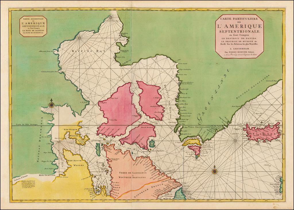 Carte Particuliere de L'Amerique Septentrionale ou sont Compris Le Destroit De Davids, Le Destroit De Hudson &c. . . .  By Pieter Mortier