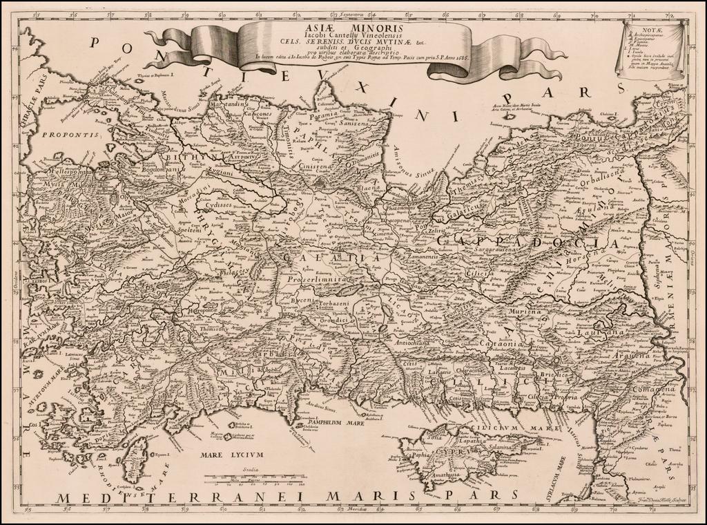 Asia Minoris Iacobi Cantelli Vineolensis . . . 1686 [Shows Cyprus] By Giacomo Cantelli da Vignola