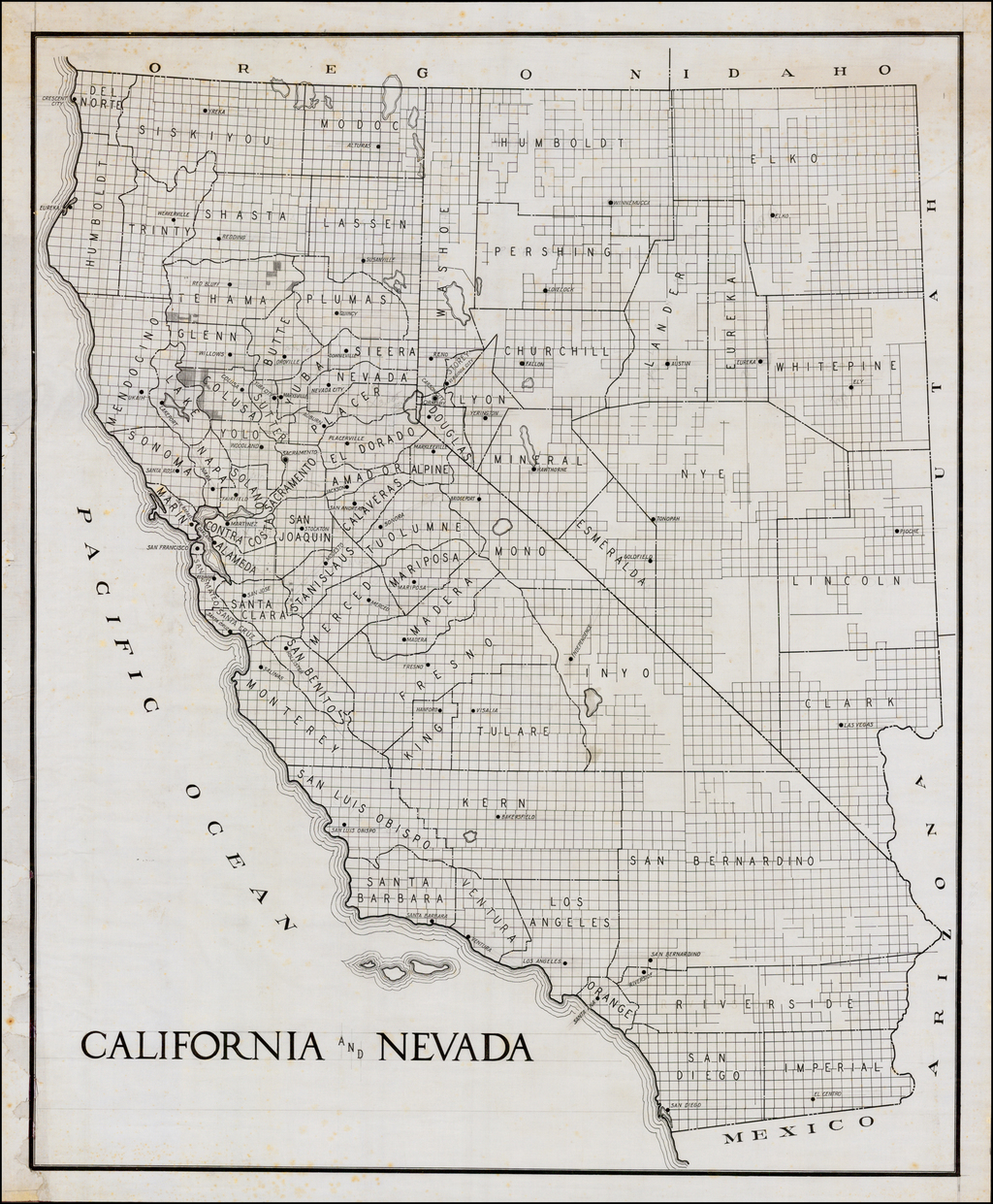 California and Nevada (Manuscript Map!) By Anonymous