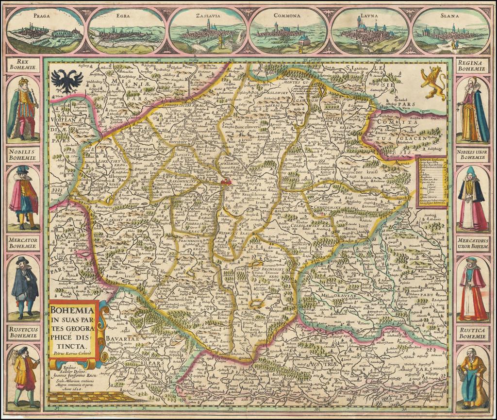 Bohemia In Suas Partes Geographice Distincta Petrus Kaerius Caelavit . . . (Carte-a-figures edition) By Jan Jansson / Petrus Kaerius