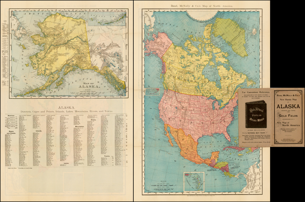 Rand McNally & Co's New Hand Map of Alaska Showing New Towns and Gold Fields . . .  (Pocket Map) By Rand McNally & Company