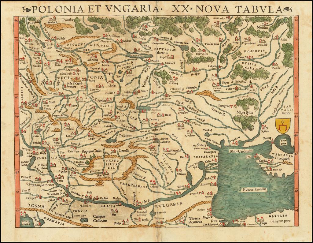 Polonia et Ungaria XX Nova Tabula By Sebastian Münster