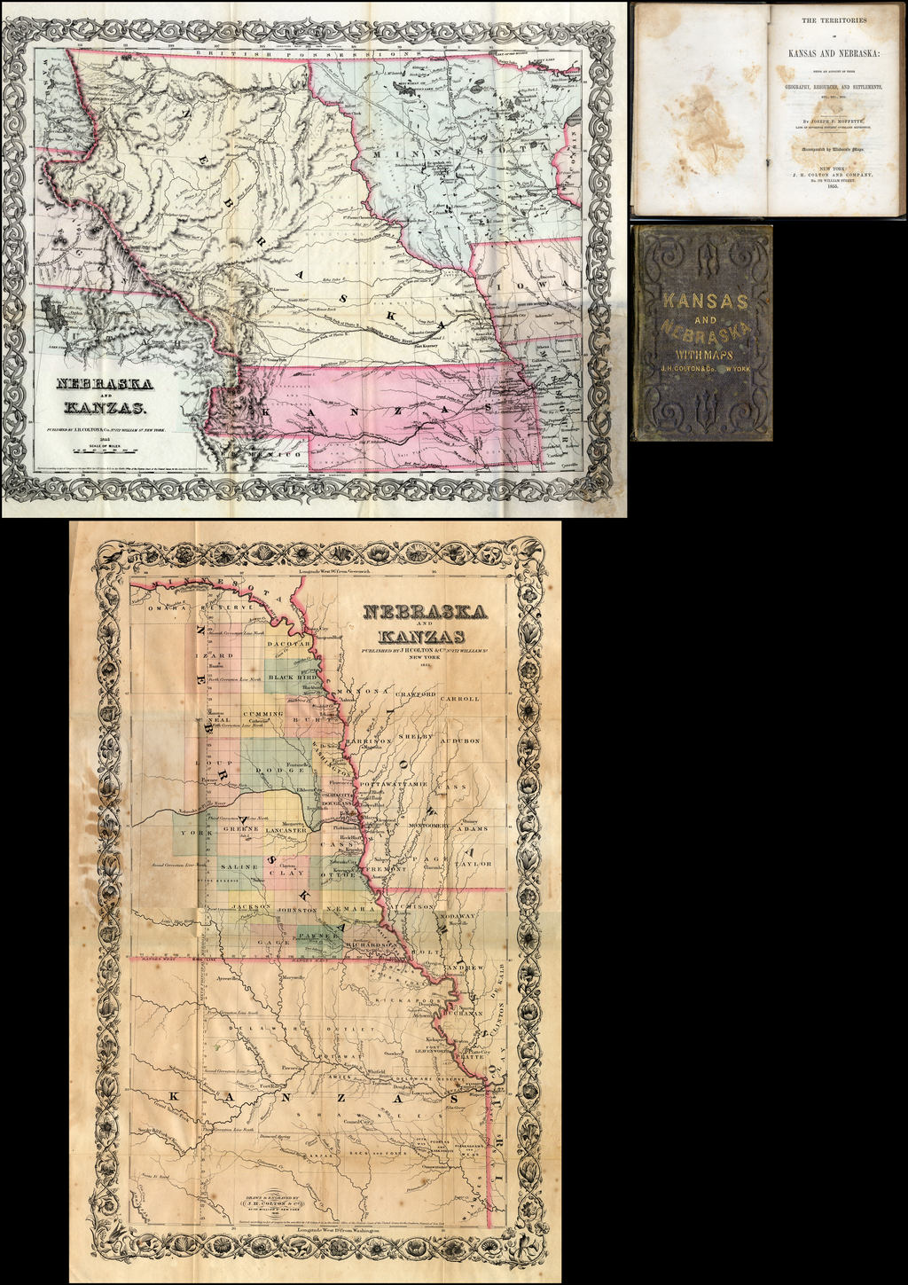 The Territories of Kansas and Nebraska:  Being An Account of Their Geography, Resources, and Settlements . . .  (with two early maps of Kansas & Nebraska) By Joseph F. Moffette