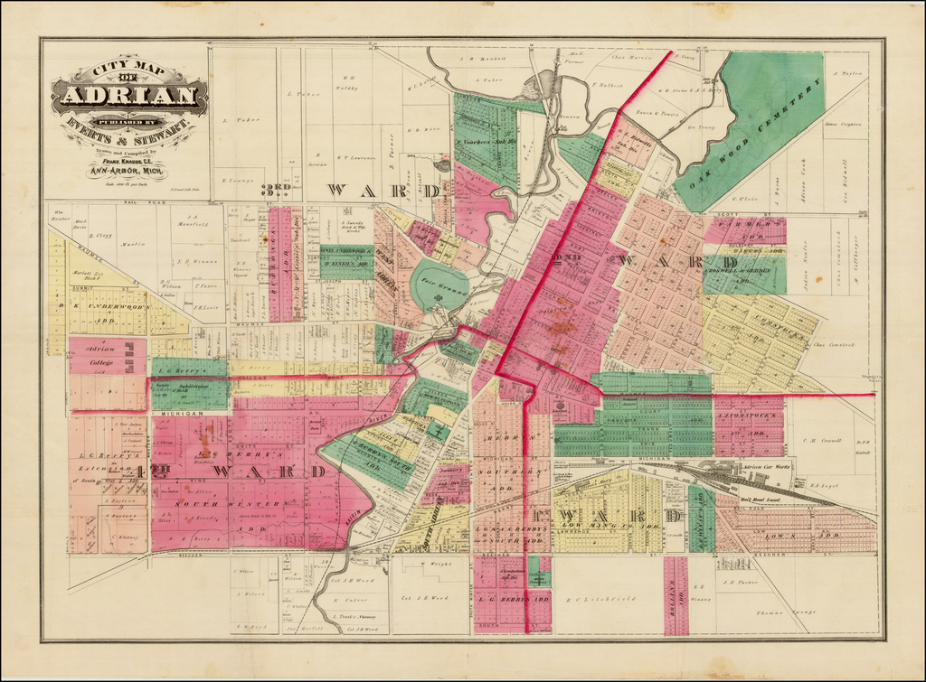 City Map of Adrian Published by Everts & Stewart.  Drawn and Compiled By Frank Krause, C.E.  Ann Arbor, Mich. By Everts & Stewart