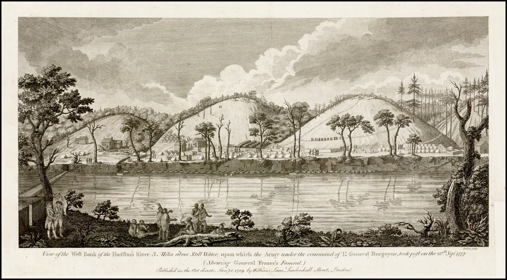 View of the West Bank of the Hudson's River 3 Miles above Still Water, upon which the Army under the command of Lt. General Burgoyne, took post on the 20th. Sepr. 1777 (Showing General Frazer's Funeral). By William Lane