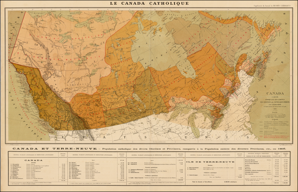 Canada Carte Indiquant Les Limites Des Dioceses, etc. Catholiques Romains Par G. Baillairge Ex-depute-ministre des Treavaux Publics de Canada 1893. By G. Baillairge