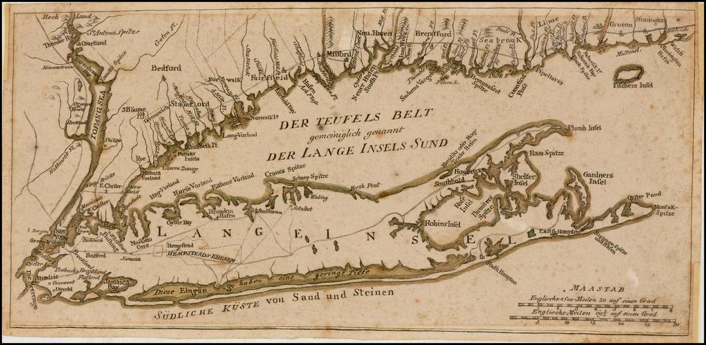 [Long Island & Vicinity] Der Teufels Belt gemeiniglich genannt der Lange Insels Sund   By Johann Carl Muller
