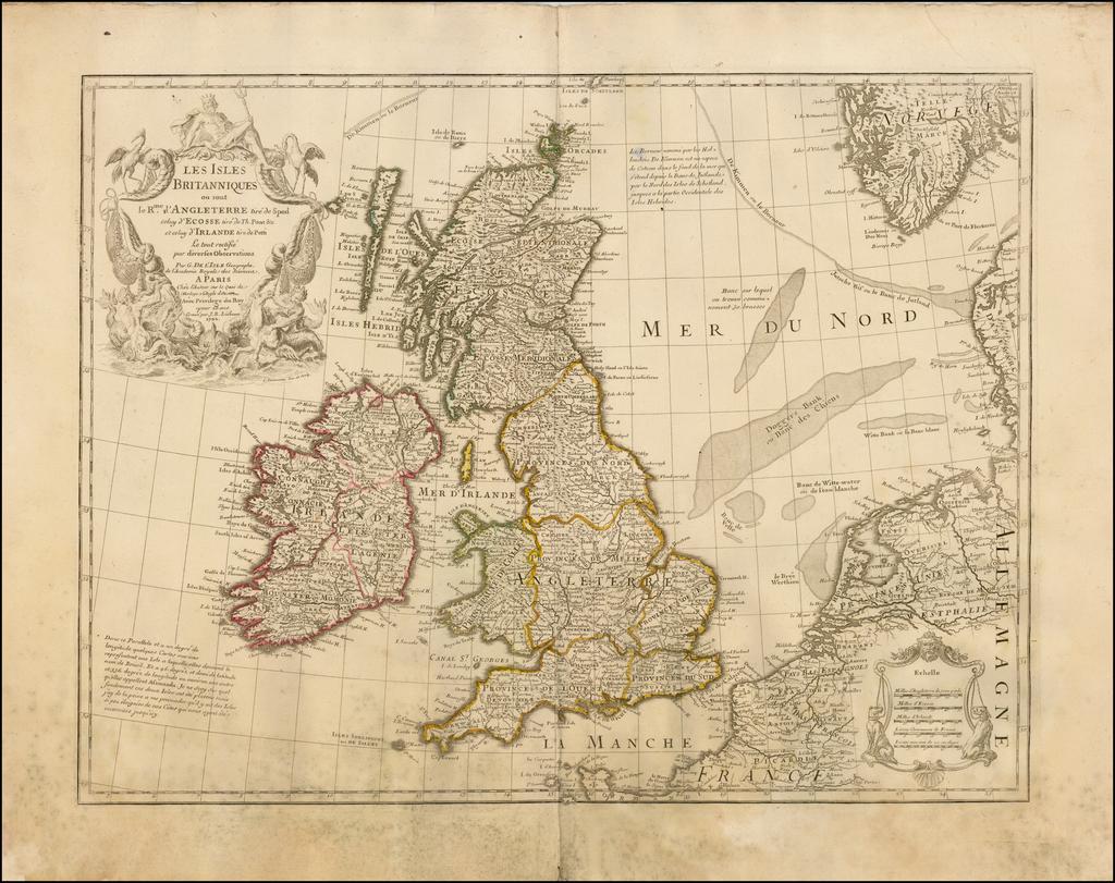 Les Isles Britanniques ou sont le Rme. d'Angleterre tire de Sped celuy d'Ecosse tire de Th. Pont &c. et celuy d'Irlande tire de Petti  Le tout rectifie par diverses Observations . . . 1702 By Guillaume De L'Isle