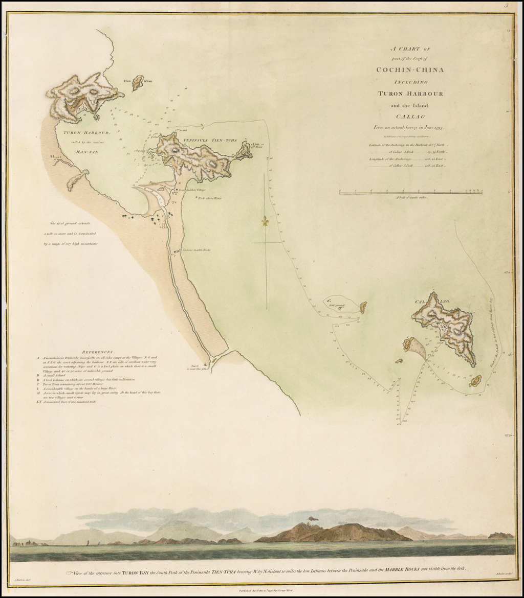 A Chart of Part of the Coast of Cochin-China Including Turon Harbour and the Island Callao  (Vietnam Coastline) By George L. Staunton