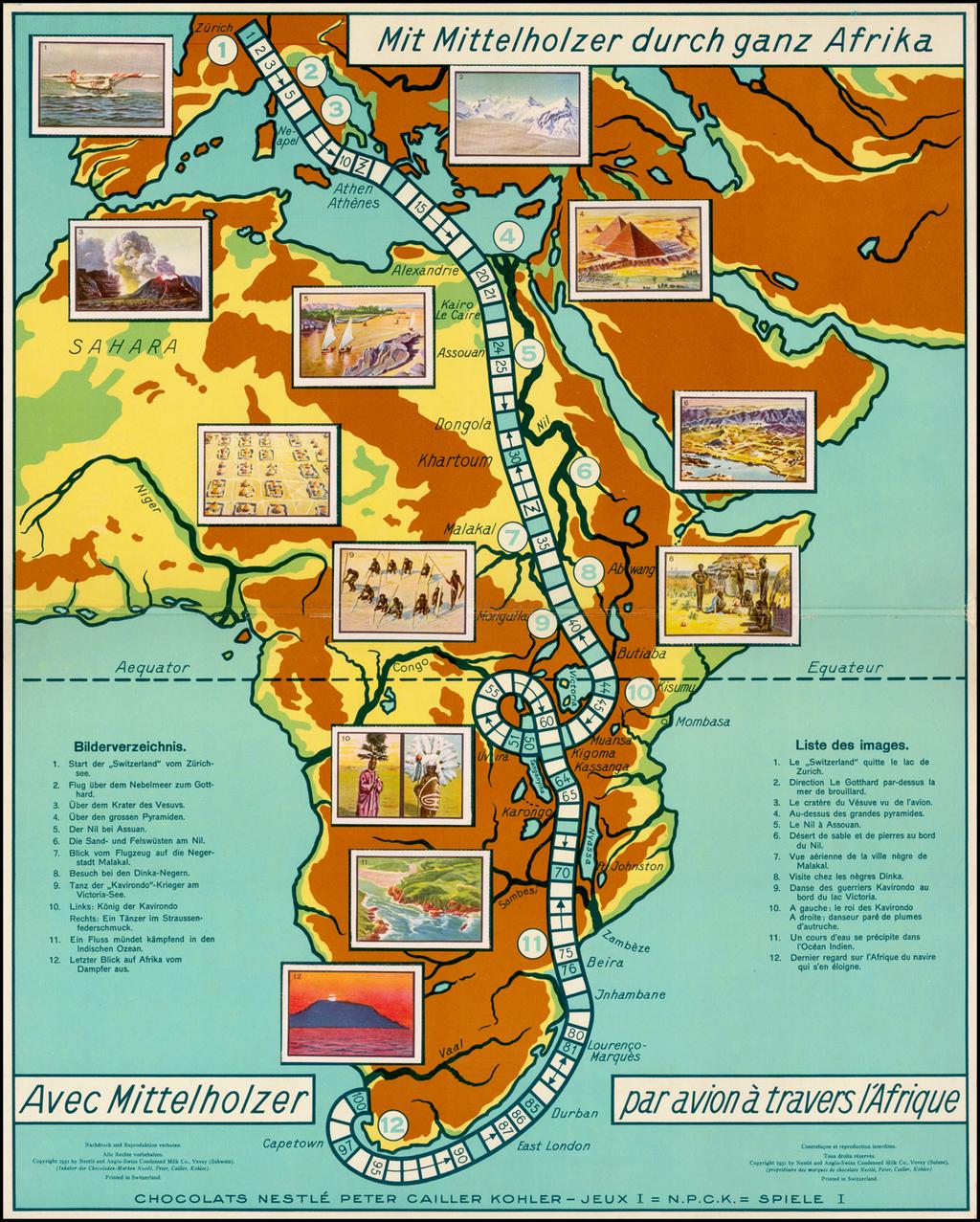 (Game Board - Walter Mittelholzer's flight over Africa)  Mit Mittelholzer durch ganz Afrika By Nestle and Anglo-Swiss Condensed Milk Co.