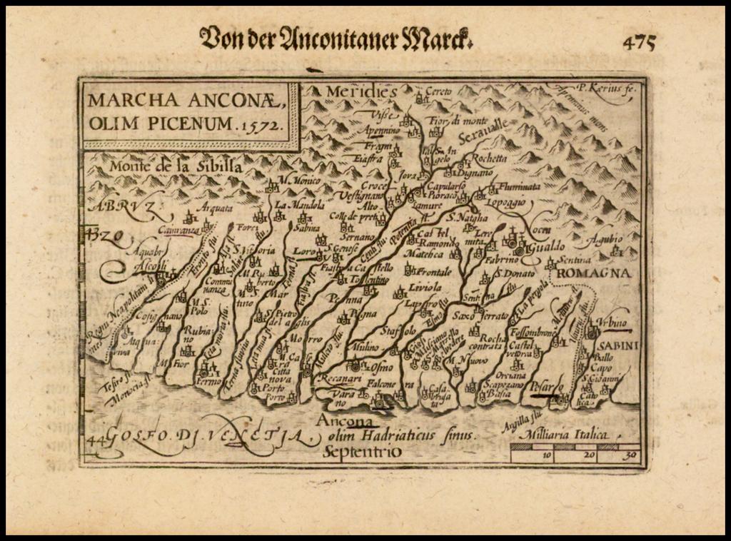 March Anconae, Olim Picenum.  1572 By Barent Langenes