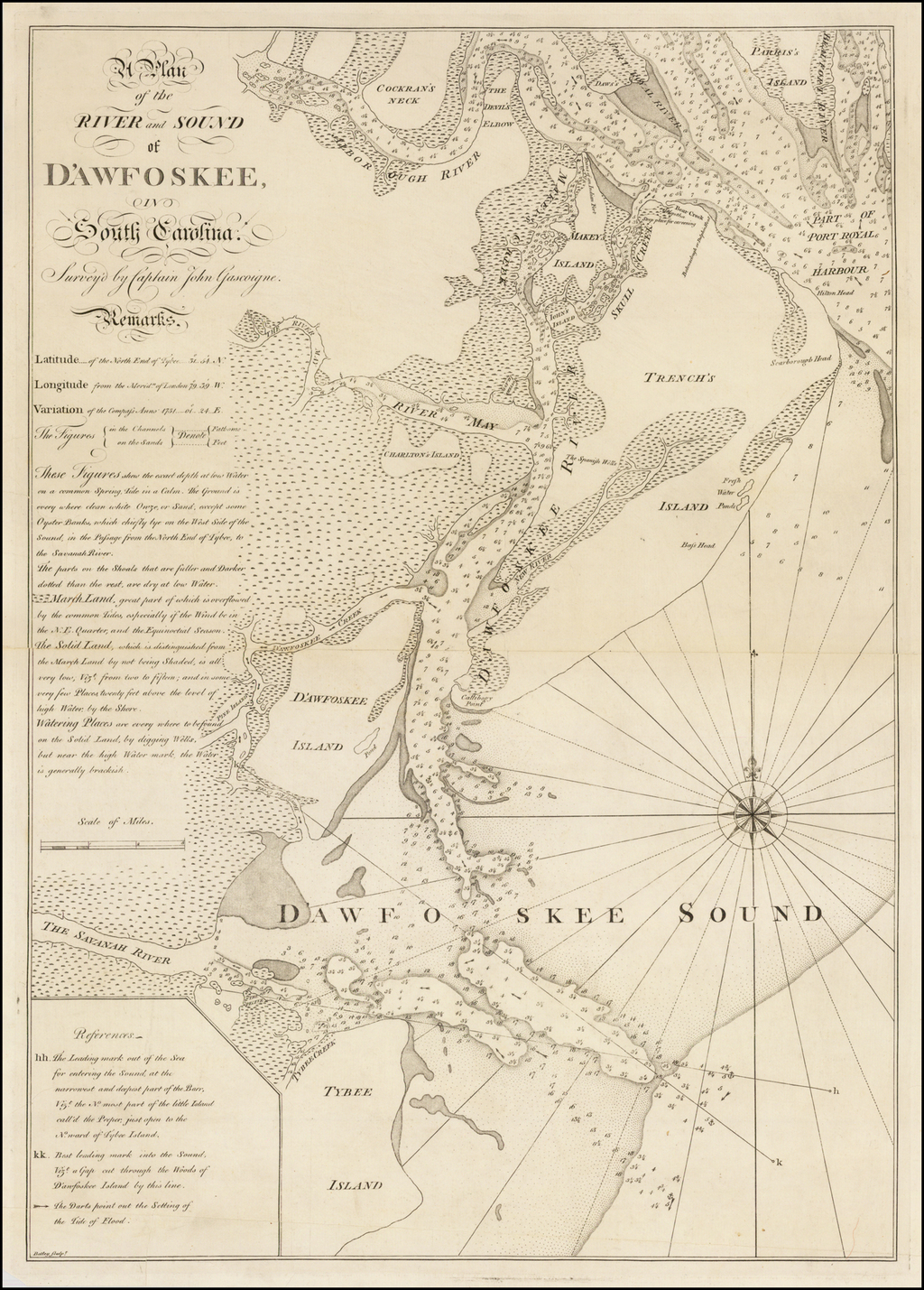 A Plan of the River and Sound of D'Awfoskee in South Carolina.  Survey'd by Captain John Gascoigne . . . (Rare First State!) By Thomas Jefferys  &  William Faden