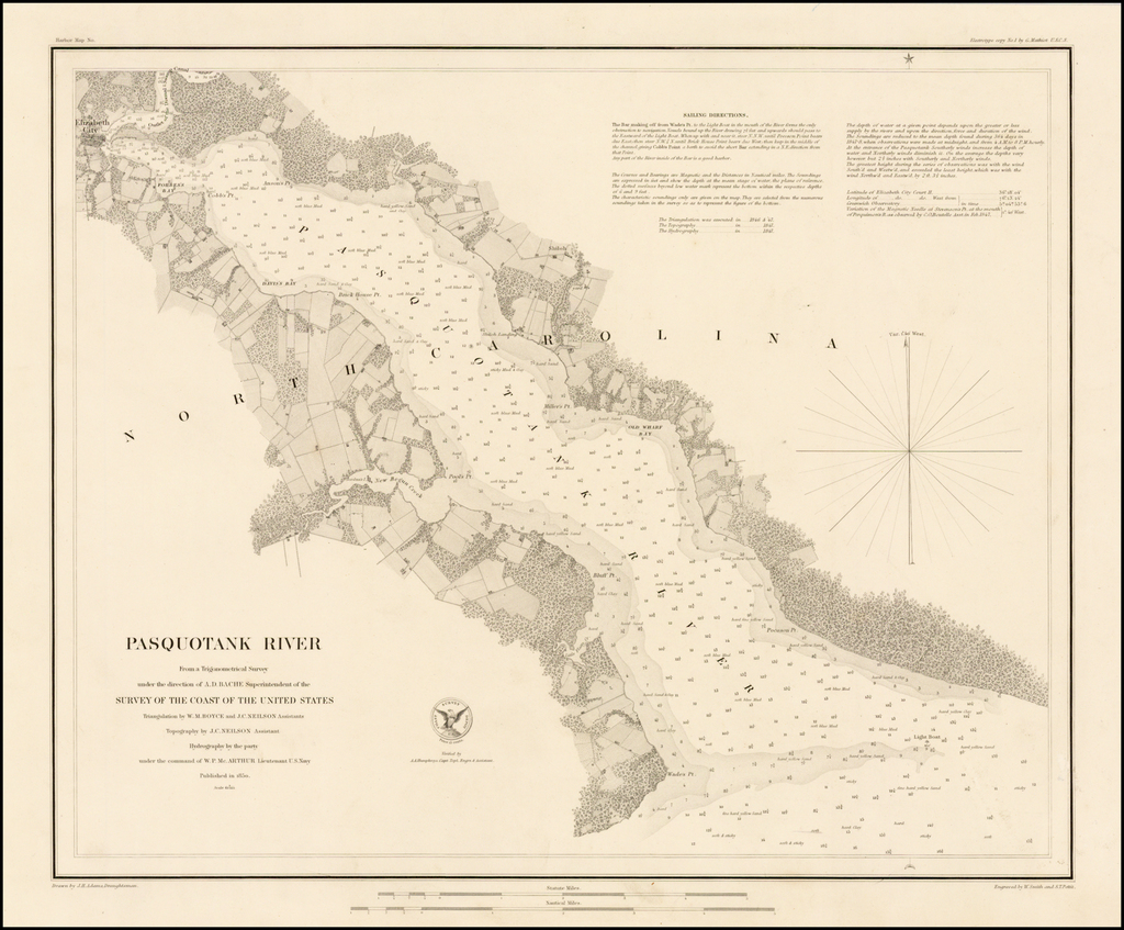 Pasquotank River From A Trigonometrical Survey under the direction of A.D. Bache Superintendent of the Survey of the Coast Survey of the United States . . . 1850.  (Separately issued / Thick Paper Copy) By United States Coast Survey
