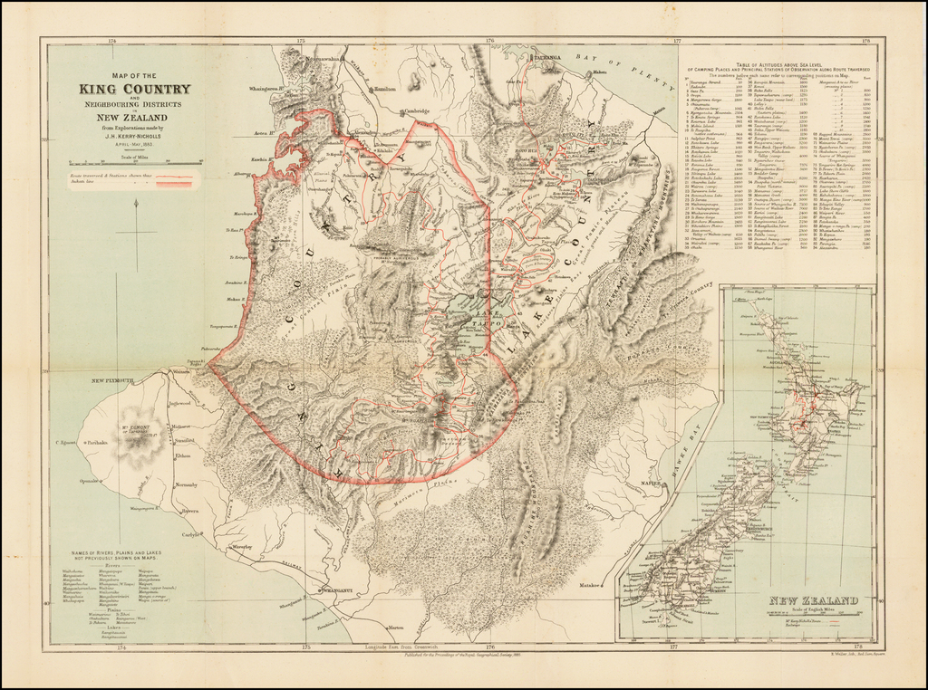 Map of the King Country and Neighbouring Districts in New Zealand from Explorations made by J.H. Kerry-Nichols April-May, 1883. By Royal Geographical Society