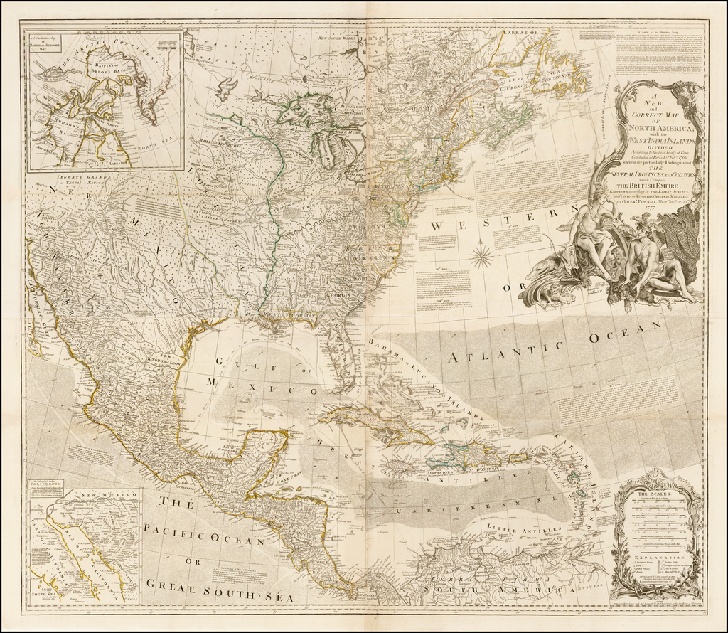 A New and Correct Map of North America, with the West India Islands,  Divided according to the last Treaty of Peace, Concluded at Paris, 10th Feby. 1763, wherein are particularly Distinguished, The Several Provinces and Colonies which Compose The British Empire . . . 1777 By Robert Sayer