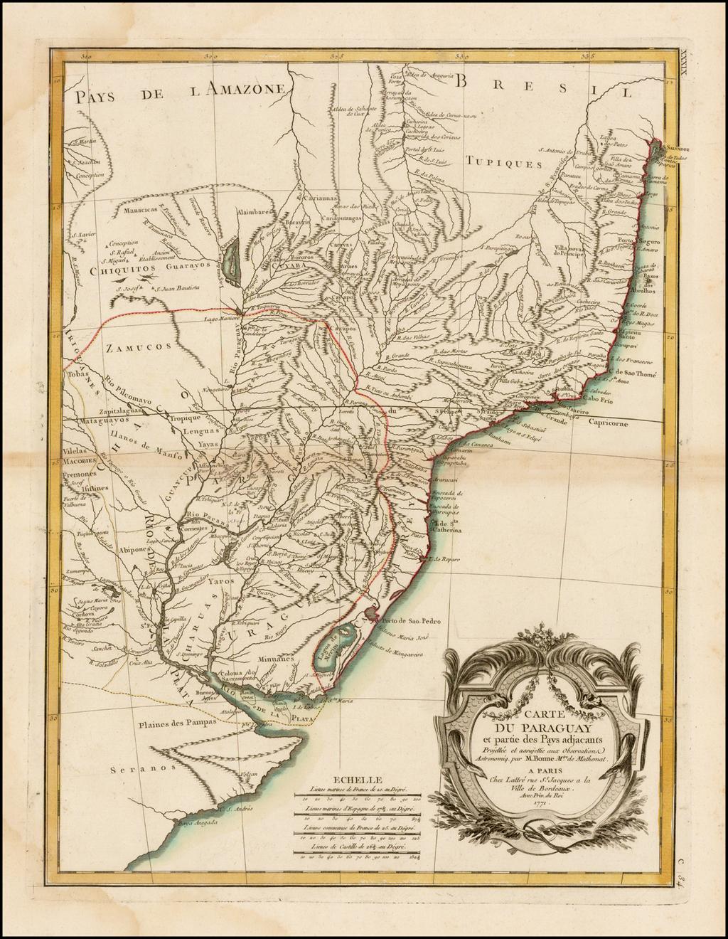 Carte Du Paraguay et partie des Pays adjacants . . . 1771 By Rigobert Bonne / Jean Lattre