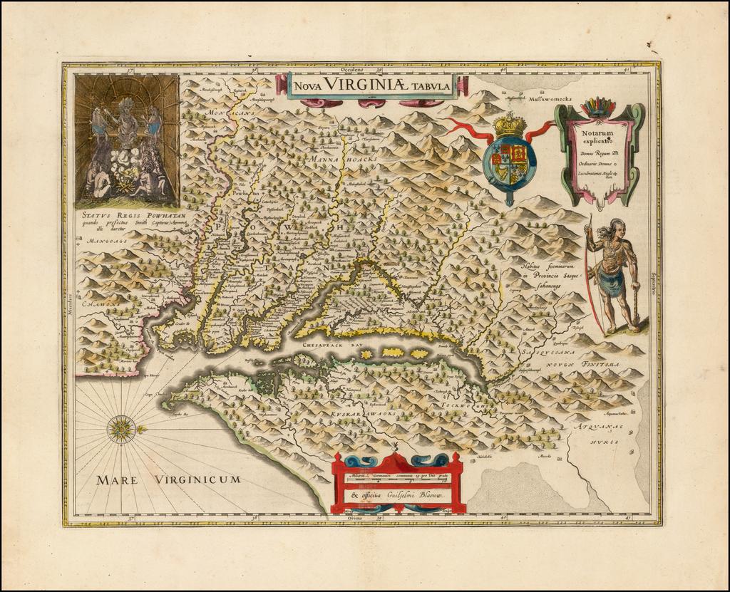 Nova Virginiae Tabula  By Willem Janszoon Blaeu