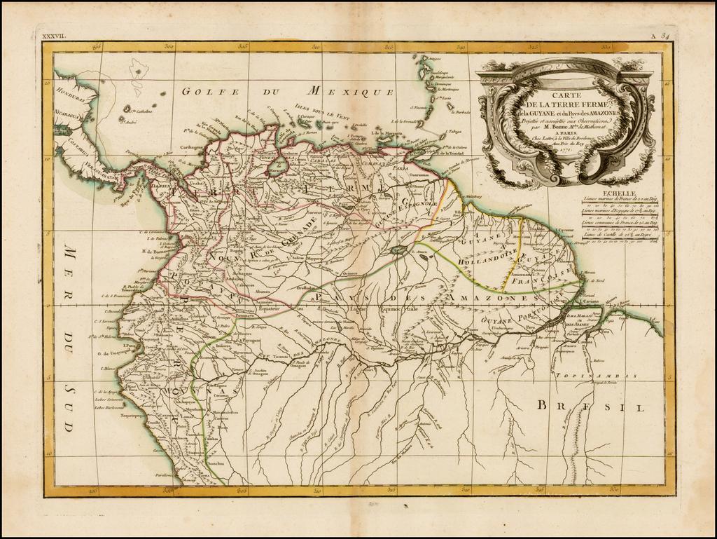Carte De La Terre Ferme de la Guyane et du Pays des Amazones . . . 1772 By Rigobert Bonne / Jean Lattre