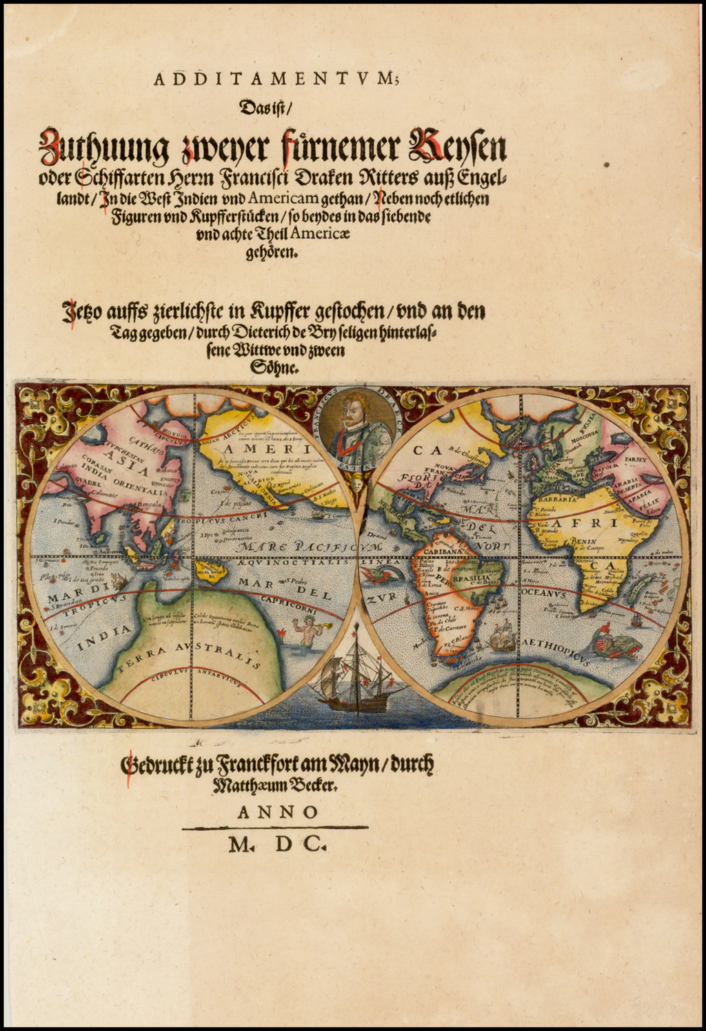 (Map of the World Showing the Route of Sir Francis Drake) By Theodor De Bry