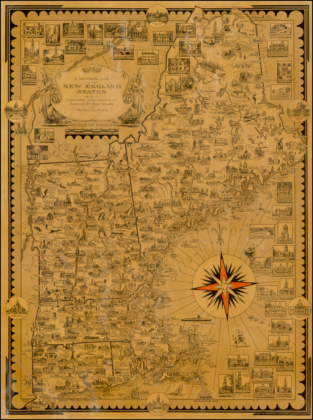 A Pictorial Map of the New England States USA . . .  By Ernest Dudley Chase