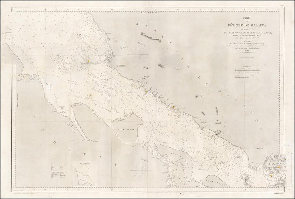 Carte Du Detroit De Malacca (Partie Sud) Depuis Les North Sands Jusqu'a Singapour; d'apres M.M. Wm. Rose, Roberts Moresby et C.Y. Ward  . . . 1862 By Depot de la Marine
