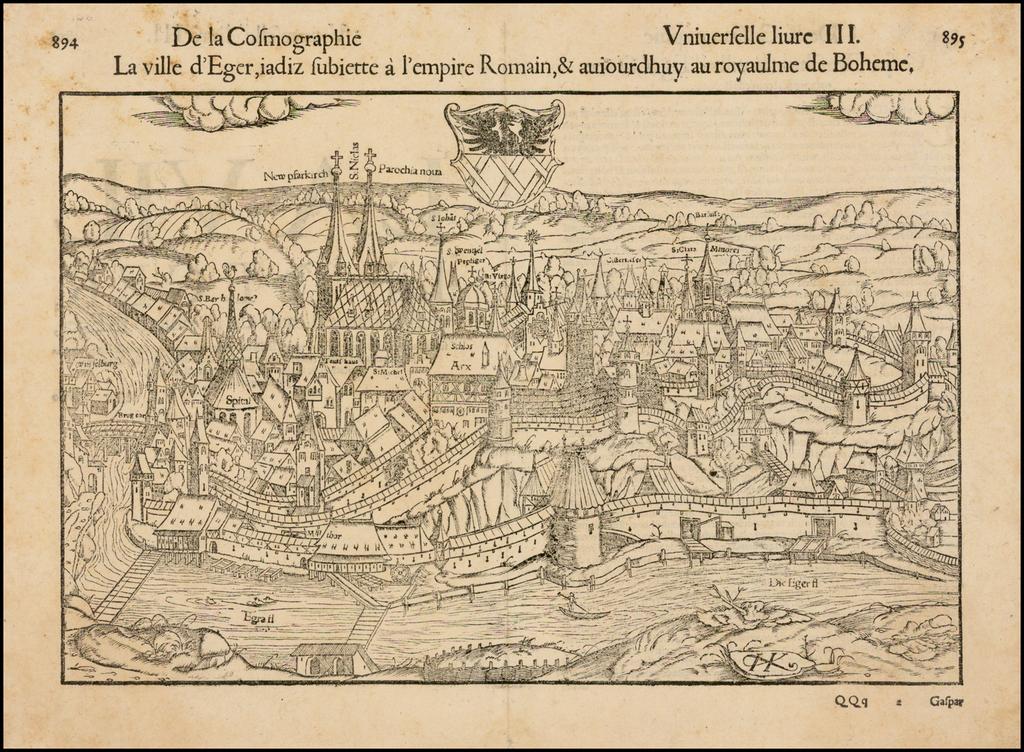 La ville d'Eger, iadiz subiette a l'empire Romain, & aviourdhuy au royaulme de Boheme. By Sebastian Münster