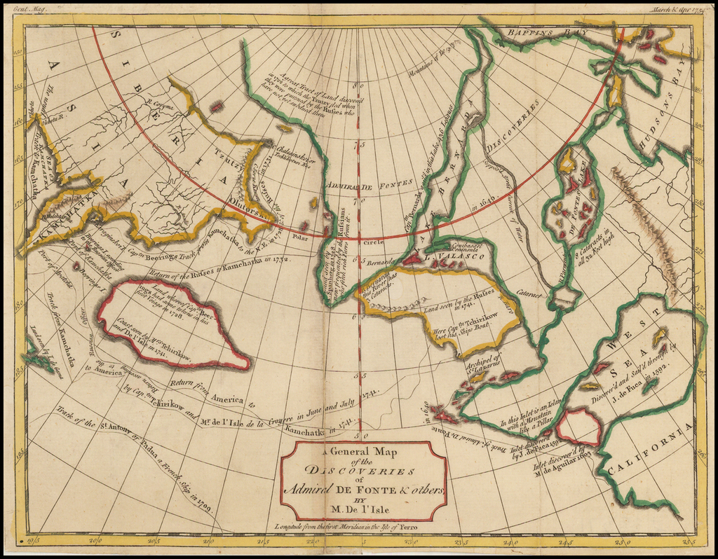 A General Map of the Discoveries of Admiral De Fonte & others, By M. De l'Isle By Gentleman's Magazine